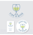 fish and wine flat logo seafood restaurant emblem vector image