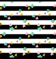 flowers striped seamless pattern vector image vector image