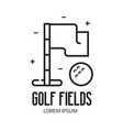 golf field logotype with flag and ball vector image vector image