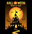 halloween background with old castle in graveyard vector image
