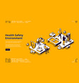 hse health safety environment isometric landing vector image vector image