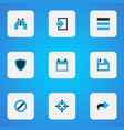 interface icons colored set with target find vector image