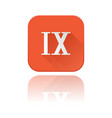 ix roman numeral orange square icon with vector image