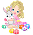 little girl and Easter bunny vector image vector image