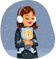 mother and baenjoying winter snow vector image vector image