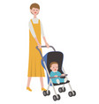 mother with a bain a stroller vector image vector image