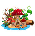 mushroom house in the pond vector image vector image