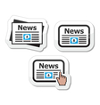 Newpaper news on tablet icons set as labels vector image vector image