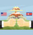 north korea vs america nuclear explosion vector image vector image