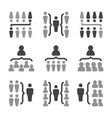 people organization icon set vector image vector image