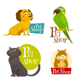 Pet shop labels emblems set isolated on white vector image vector image