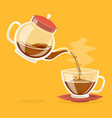 pour coffee drink from glass teapot stream flow vector image vector image