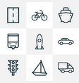 shipment icons line style set with sailboat lorry vector image