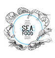 shrimp hand drawn sea food logo design vector image vector image