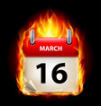 sixteenth march in calendar burning icon on black vector image vector image