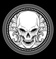 skull with ornament hand drawing vector image vector image