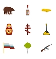 Symbols representing Russia icons set flat style vector image vector image
