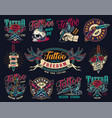 tattoo studio colorful vintage badges vector image vector image