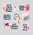 tennis quotes hand drawn letterings set vector image vector image