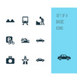 transportation icons set with start of motorway vector image