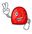 two finger gumdrop character cartoon style vector image