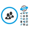 Users Flat Icon with Bonus vector image vector image