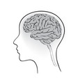 female brain in head sign think icon concept vector image