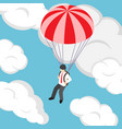 isometric businessman flying with parachute vector image