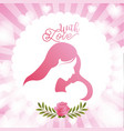 cute label woman and baby with love floral hearts vector image