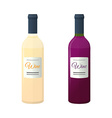 colored flat white and red couple wine bottles vector image