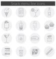 Snack Menu line icons set of food drink coffee vector image