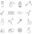beauty salon set of black line icons new vector image