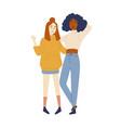 black and asian women friends full length vector image