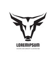 bull head in black white colors - logo vector image