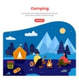 camping in forest web banner template vector image