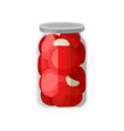 canned tomatoes in glass jar marinated vegetables vector image vector image