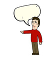 cartoon angry man pointing with speech bubble vector image