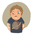 Cartoon boy ashamed in cute t-shirt vector image vector image