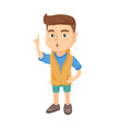 caucasian boy with open mouth pointing finger up vector image vector image
