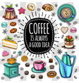 coffee trendy set vector image vector image