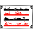 collection chinese garden silhouettes vector image vector image