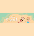 couple lying on beach top angle view hello summer vector image vector image