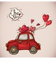 Doodle Card Valentines Day with Red Car vector image vector image