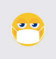 emoji with medical mask icon vector image vector image