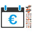 euro calendar day icon with valentine bonus vector image vector image