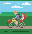 family cycle poster with father riding vector image vector image