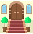 Flat of facade doors with stairs vector image vector image