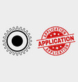 gear icon and distress application stamp vector image vector image