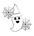 halloween funny ghost with hat celebration vector image