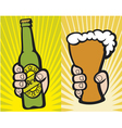 hand holding a glass beer and green beer bottle vector image